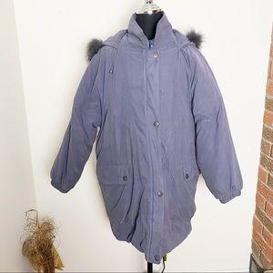 London Fog Steel Gray Winter Parka Faux Fur Hood M
